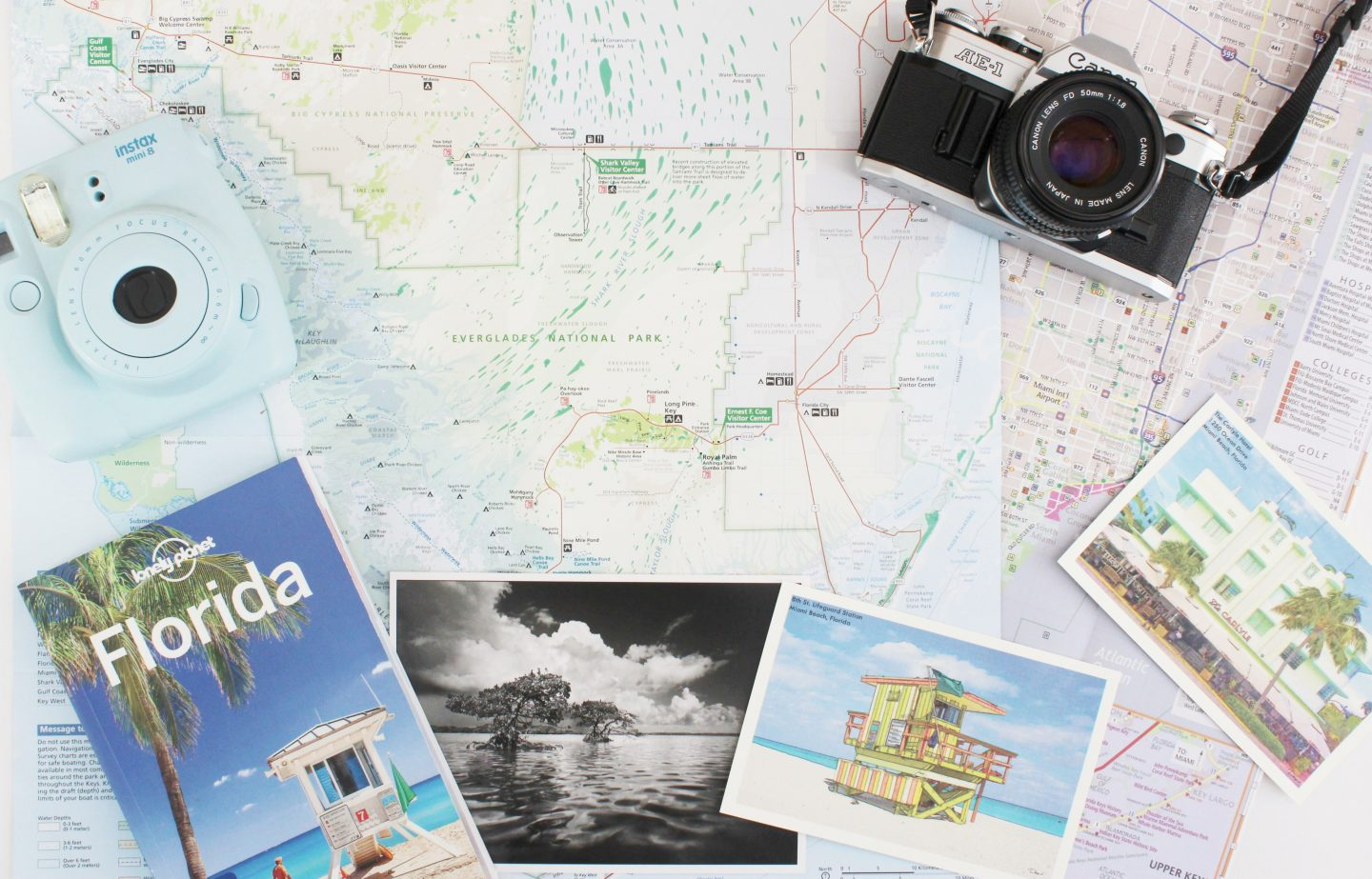 Miami travel guide flat lay