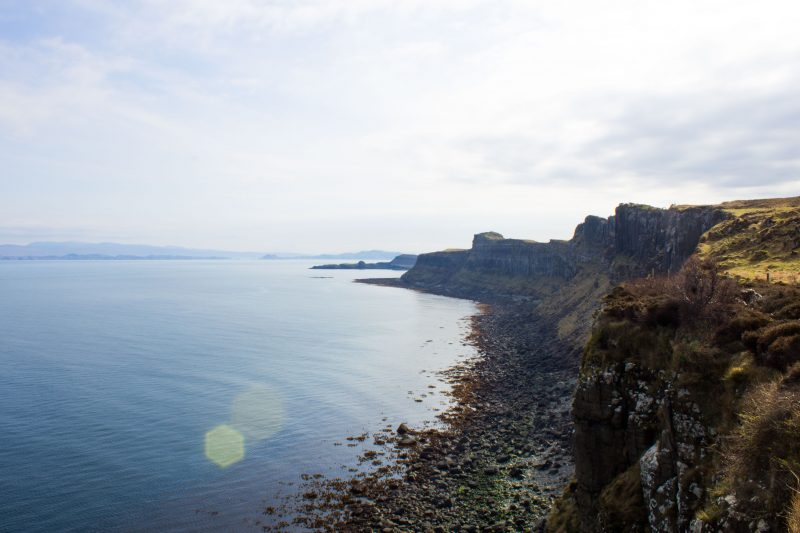 Driving on the Isle of Skye - view cliff