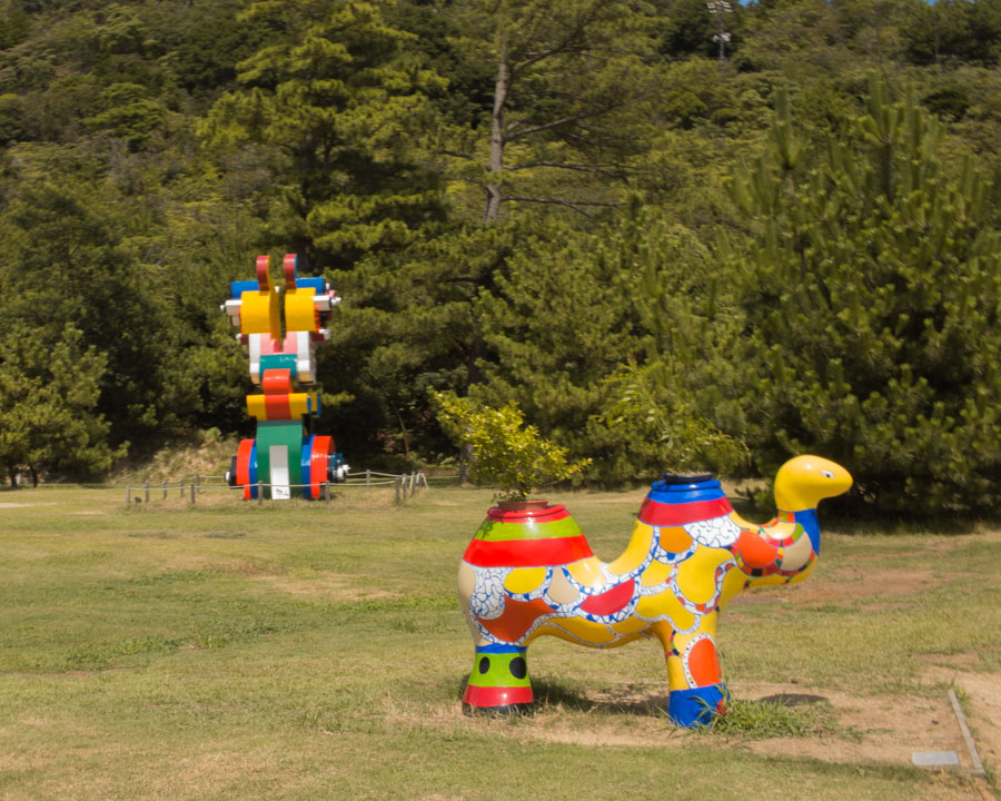 Outdoor sculptures at Benesse House Museum naoshima