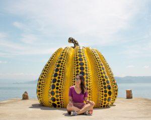 Selfie in front of the Giant Pumpkin Naoshima Island