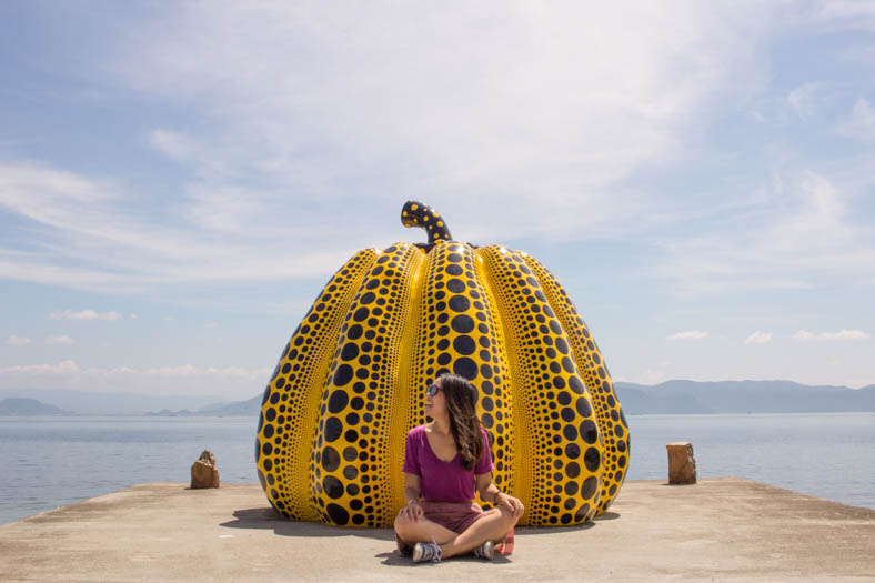 off the beaten path in Japan - Naoshima Giant Pumpkin