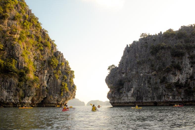 Best Halong bay cruise recommendation - kayaking at bai tu long bay