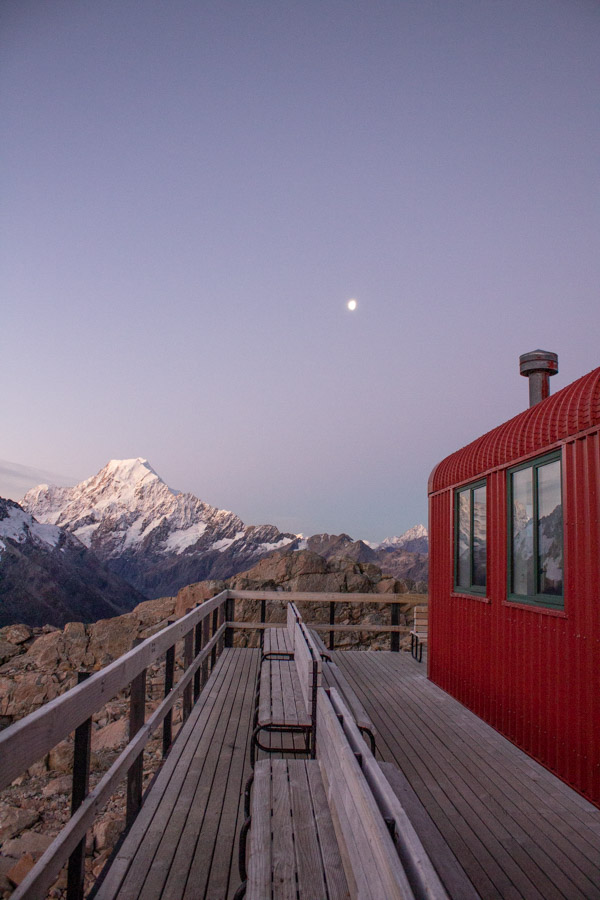 View of Aoraki / Mt Cook at sunset from Mueller Hut, Mt Cook National Park