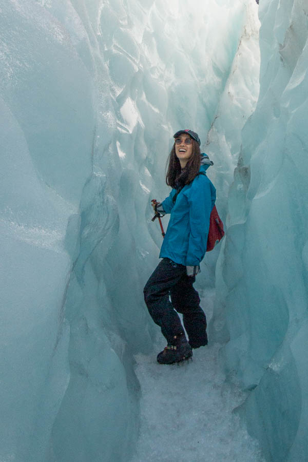 Girl on Franz Josef Glacier in New Zealand