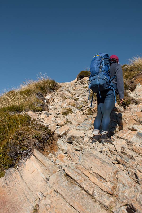 hiking Mueller Hut for beginners - rocky scramble