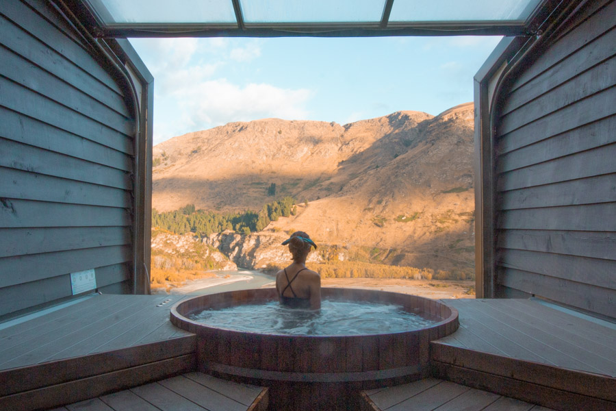 View from Onsen Hot Pools overlooking the Shotover River Canyon in Queenstown