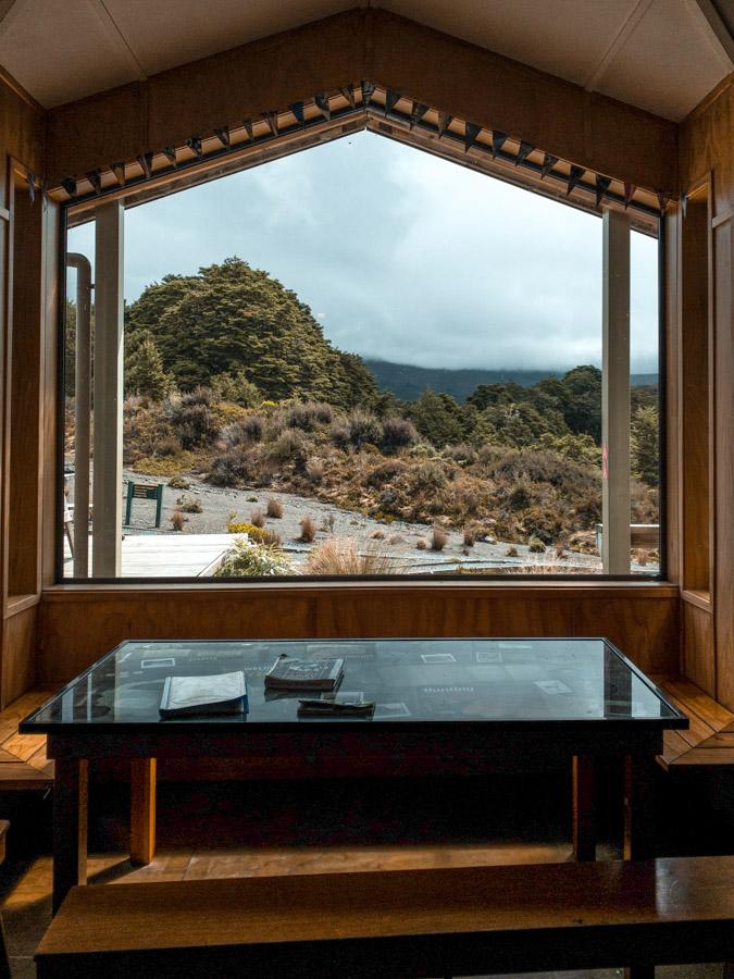 New Zealand North island itinerary - Tongariro Northern Circuit hut view window
