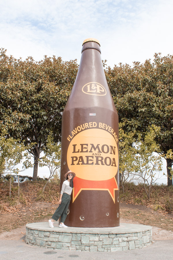 New Zealand North island itinerary - giant L&P bottle Paerora