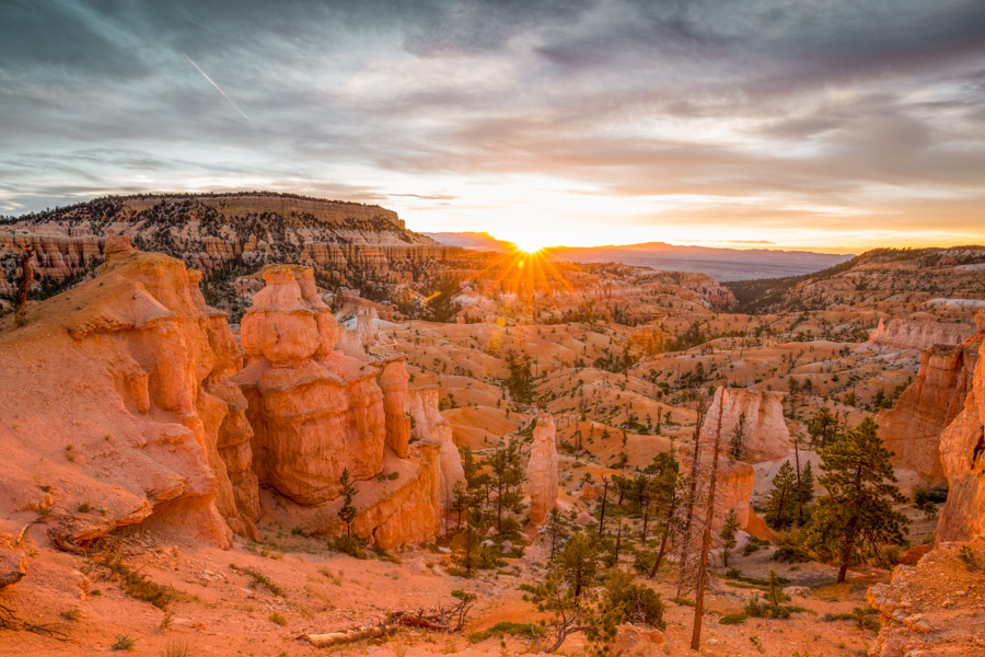 exploring outdoors from inside - bryce canyon golden hour