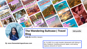 The Wandering Suitcase Pinterest Profile Keyword Locations