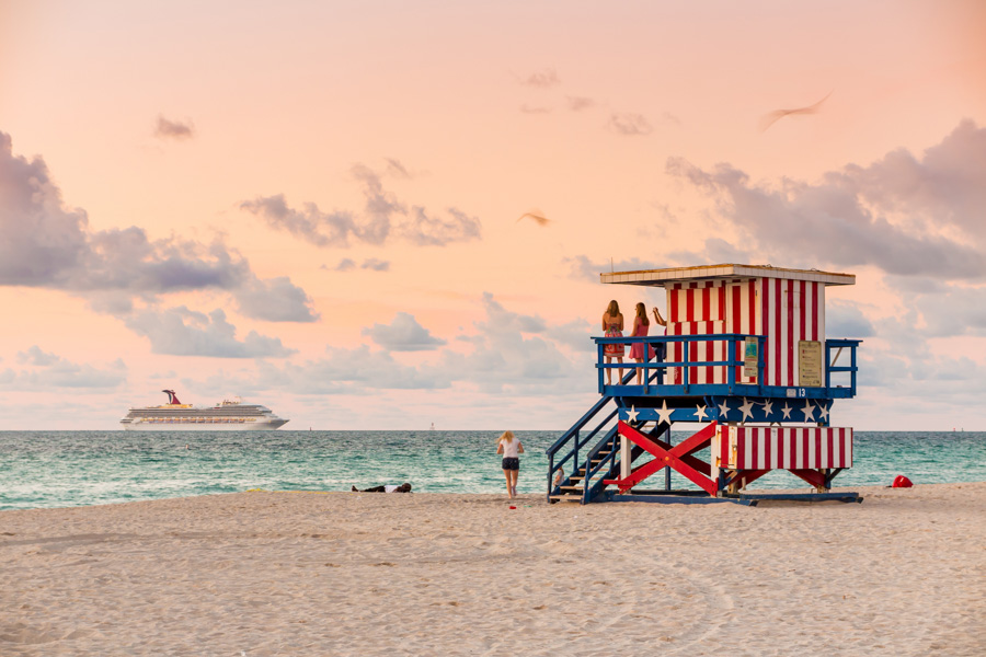 Colourful lifeguard tower Miami South Beach