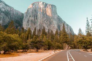 El Capitan road through Yosemite National Park USA